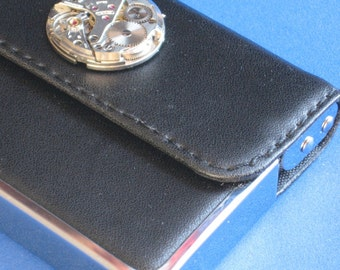 Leather business card holder Black case Metal Cosmic hinged Upward lifting opening Elite Vintage watch mechanism