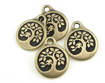 Antique Brass Charms Tree of Life Charms TierraCast Bird in a Tree Drop Yoga Charms Bronze Charms for Mindfulness Meditation Jewelry (P1256)