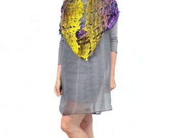 Wool, silk ,felted scarf, felt scarf, cowl, violet, yellow, kate ramsey, fabulousfelt