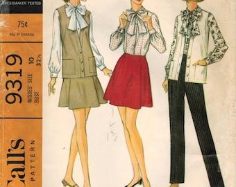 1960s  McCall's 9319 Vintage Sewing Pattern Misses Blouse, Vest, Mini Skirt, Pants Size 10 Bust 32-1/2