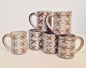 vintage mugs - floral stoneware coffee cups - set of mugs - 6 pieces