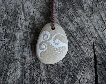 Beach Stone Necklace - Dots and Swirls