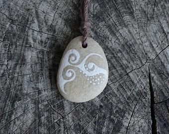 Beach Stone Necklace - Dots and Swirls
