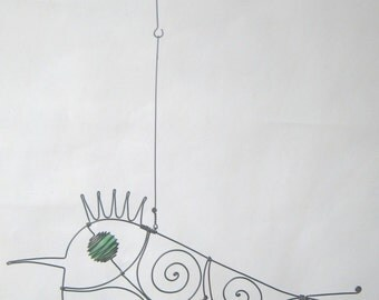 Animal Sculpture / Green - Eyed Wire Bird