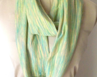 Green Infinity Scarf, Knit Fabric, Long Tubular Cowl, Light Green, Peach Pattern