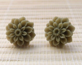 Olive Green Flower Cabochon Resin Studs Sterling Silver 14mm