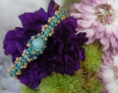 Peach, Teal and Turquoise Forget Me Knot Bracelet ~ Macrame Jewelry ~ Flowers