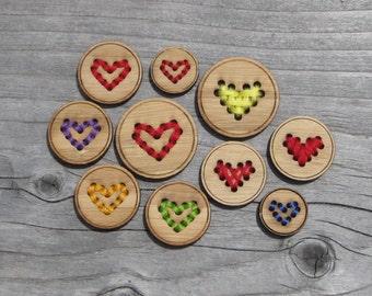 """Heart Buttons (5/8"""", 3/4"""", 1"""",  1 1/4"""", 1.5"""", 2"""") Bamboo Wood Button"""