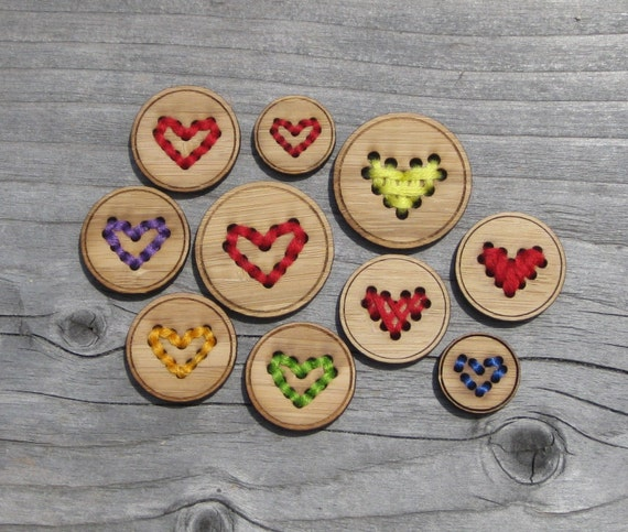 """Four Bamboo Heart Buttons (3/4"""", 1"""" and 1 1/4"""") Wood Button"""