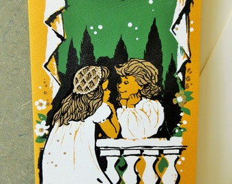 Vintage Card, Congratulations Card, Romeo and Juliet, Greeting Card, Silkscreened, 1960s Stationery, 1960s Greeting Card, Screen Print