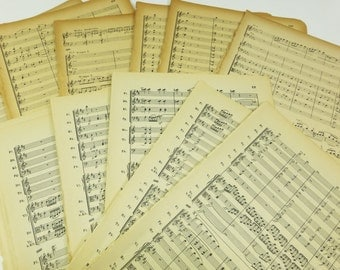 Small Sheet Music, 20 Miniature Music Pages for Arts & Crafts, Antique Sheet Music Paper Ephemera Pack