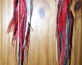 Red Long Feather Earrings, Red Feather Earrings, Natural black feather earrings, Real Feather Long Earrings, Natural Feathers, Red and Black