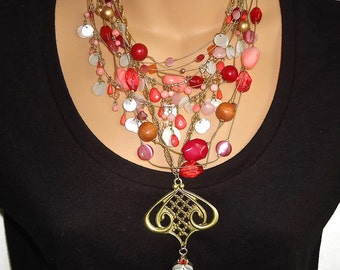 Boho Necklace, Pink & Raspberry, Vintage Assemblage, One of a Kind, Bohemian, Big Statement, Altered, Mixed Media, Upcycled, Repurposed