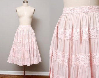 1970s Skirt - Soft Pink Circle Skirt with Lace Detail