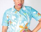 Vintage 60's White Blue PALM PRINT Hawaiian Semi Sheer Floral Blouse // Vintage PLUS Size Blouse (sz L)