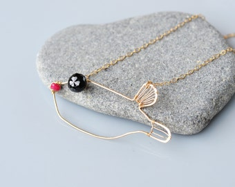 Black Spinal and Ruby Gold Boxfish Pendant Necklace - hand forged, soldered, faceted onion briolette,