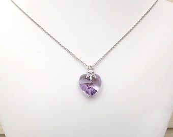 Purple Swarovski Heart Necklace - Silver Necklace - Antique Silver - Heart Necklace - Crystal Necklace - Simple Necklace - Elegant - N025