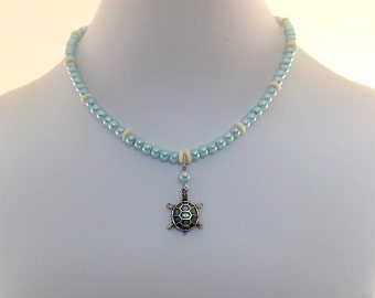 Baby Blue Pearl Necklace - Little Girl Necklace - Turtle Necklace - Glass Pearl Necklace - Small Necklace - Child Size Necklace - CH005