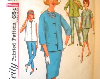 Vintage Simplicity 4858 Sewing Pattern Misses Maternity Blouse or Top, Skirt and Pants