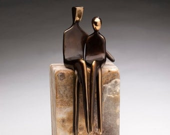 """CAST BRONZE LOVERS >> 7"""" bronze sculpture / art object of you and your significant other, heartwarming and romantic!"""