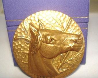 Horse Brooch Repouss'e Gold Tone KL Design
