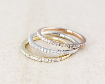 Stackable Diamond Rings - 10K Rose Gold, 10k Yellow Gold, or 10k White Gold