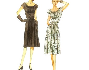 Vogue V8728 Gathered Dress 1940s Pattern Reproduction BB 8 10 12 14 Unused