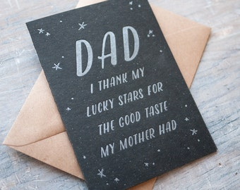 Funny Fathers Day letterpress card - thank my lucky stars