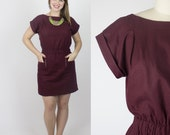 Florence linen dress / Short sleeve burgundy dress - Transitional / fall fashion dress