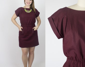 SALE - Florence linen dress / Short sleeve burgundy dress - Last in stock - XLARGE