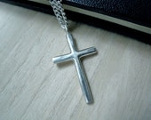 "Large cross necklace brushed matte silver - Cana Jesus cross silver pendant - Unique unisex to mens silver cross necklace - 24"" silver chain"