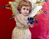 Angel Christmas Topper-Vintage Victorian Look-Scrap Angel,German Dresdens,Spun Glass Circle,Vintage Tinsel Star,German Tinsel,Vintage Holly