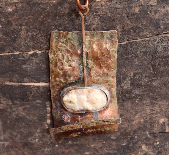 Rustic Hammered Copper Pendant Large Rough and Wild Aged Copper with Rustic Matte Quartz Druzy Zen Fountain on Leather Artisan Jewelry