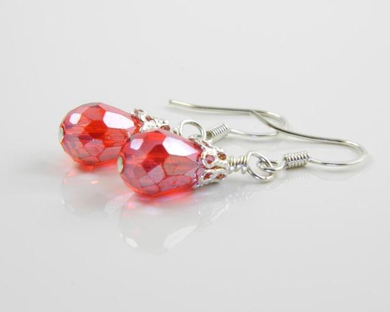 Red Teardrop Crystal Earrings, Short Red Dangle Earrings with Surgical Steel Ear Wires