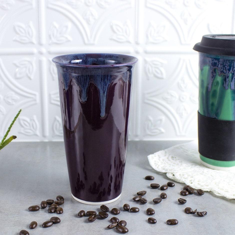 Ceramic Coffee Travel Mug Eggplant Purple Blueroompottery