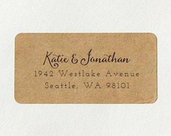 Custom Printed Return Address Labels - Design #15, Calligraphy Address Labels, Brown Kraft Address Labels, Wedding Return Address Labels