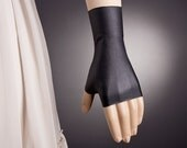 Short BLACK Gloves,Fingerless Glove,Steampunk gloves women,Vegan Gloves,Black Fingerless Glove