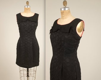 1960s black bow party dress • vintage 60s dress • short evening dress