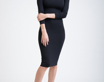 Pencil Dress with Square Neckline and Extra Long Sleeves / Party Dress / The Black Panther / marcellamoda - MD005