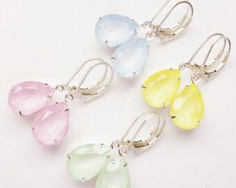 Pastel Crystal Rhinestone Earrings, Spring Swarovski Pear Earrings, Sterling Silver Teardrops, Crystal Jewelry, Mothers Day Gift, Choose One