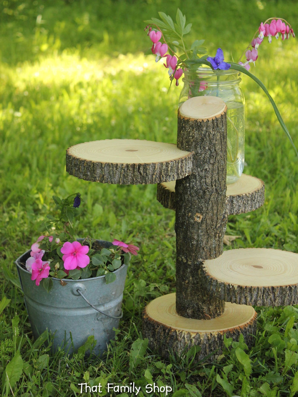 Large 3 tiered rustic wedding decor tree mason by for Tree decorations for garden