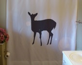 doe shower curtain female deer hunt forest cute mother tail fallow ruminant mammal fallow bathroom decor bath curtains custom size long wide