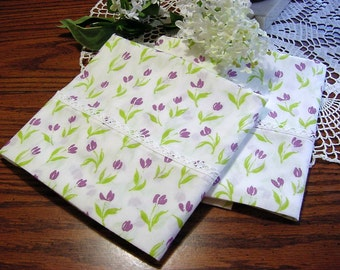 Whimsical Purple Tulip Pillowcase Pair -Newly Made from Vintage Fabric -Lime Green White Floral Flowers Bedding Gift - 2 pair available