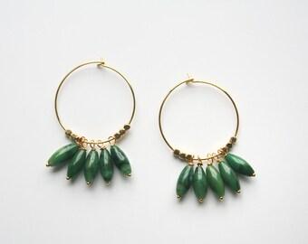 Green Hoop Earrings, Summer Earrings, Gold Hoop Earrings