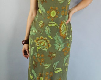 Summer Fall Dress, Vintage 90s, Festival, Bias, Sleeveless, Green, Floral, Wedding Guest, Hippie, Party, Size Medium. FREE SHIPPING