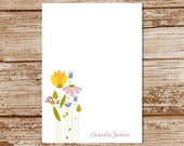 meadow flowers notepad, note pad - personalized stationery, stationary - wildflowers, floral, feminine