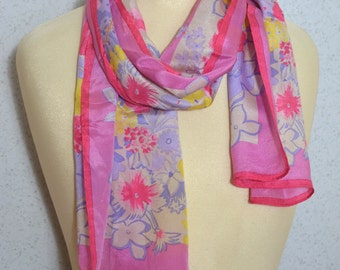 Vera Neumann silk long vintage scarf: Pale Pink, Purple and Yellow Painted Flowers