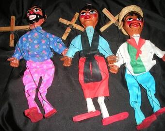 Vintage Trio of Old Mexican Puppets/Marionettes Primitive Folk Art String Dolls Mint.