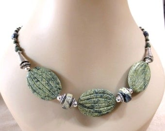 Green Serpentine Necklace, Russian Jade Necklace for Mom, Sterling Silver Clasp, Hematite Beads, Yellow Turquoise, Gemstone Necklace