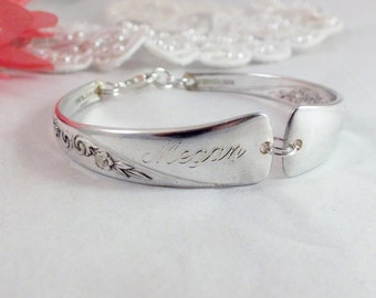 Spoon Bracelet, FREE ENGRAVING, Silver Wedding Bracelet, Bridesmaid Bracelet, Bridesmaid Gift, Christmas, Vintage Wedding  REVELATION 1953